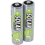 ANSMANN Akku AA Mignon 800 mAh 1,2V NiMH für Solarlampe 2 Stück - Wiederaufladbare Batterien mit geringer Selbstentladung maxE - Solar Akkus ideal für Solarleuchte im Garten - Rechargeable Battery