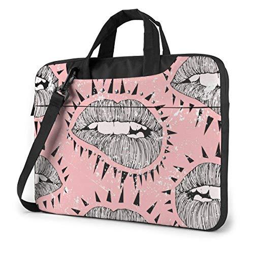 Bitten Lips Laptop Case Laptop Schoudertas 15,6 inch, Laptop Sleeve Draagtas met riem