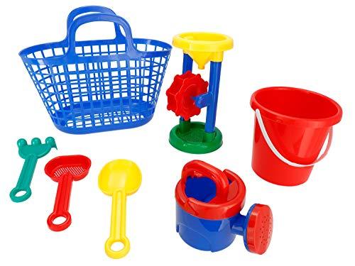 Bieco Sandspielzeug Set 7 tlg. | Sandmühle & Sandeimer für Kinder | Perfektes Strandspielzeug Kinder | Sandkasten Spielzeug | Sandelsachen für Kinder | Sand Spielzeug Set mit Förmchen Sandkasten