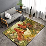 NiYoung Bedroom Living Room Kitchen King Size Area Rug Home Decor - Chickens and Farm Little Rooster Floor Mat Doormats Quick Dry Bath Mat Yoga Mat Throw Rugs Runner (60 x 39 Inch)