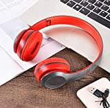 PVFLYMK Wireless Headphones, P47 Bluetooth Over Ear Foldable Headset with Microphone Stereo Earphones 3.5mm Audio Support FM Radio TF for PC TV Smart Phones & Tablets etc - Red