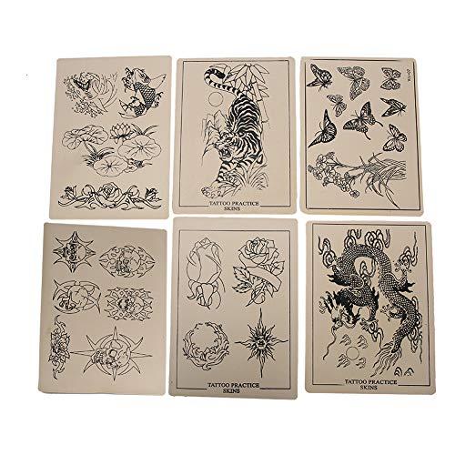 6pcs peau de pratique de tatouage en caoutchouc, référence de conception de modèle de tatouage, outil d'art corporel de formation de tatouage pour les tatoueurs débutants