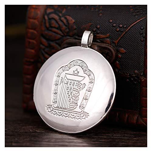 Demoyu Tranic Buddhist Anbieter Silber/Gold Nepal Handmade Carving Legierung Metall Jiugong Acht Trigramme Amulett Anhänger (Farbe : Silver, Size : 4.9cm)