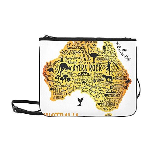 WYYWCY Typografie-Poster Australien-Karte Australien-Reise-Gewohnheit hochwertige Nylon-dünne Handtasche Umhängetasche Umhängetasche