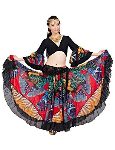 Astage dames Maxi Tribal Gypsy taille rok 25 yards 720 graden buikdans top rok
