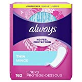 Always Thin Daily Wrapped Liners, Unscented, 162 count