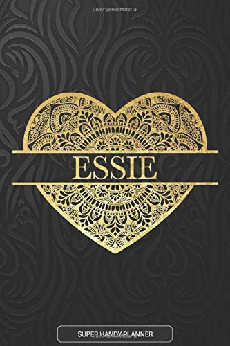 Essie: Essie Planner, Calendar, Notebook ,Journal, Gold Heart Design With The Name Essie
