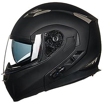 ILM Bluetooth Integrated Modular Flip up Full Face Motorcycle Helmet Sun Shield Mp3 Intercom  M Matte Black
