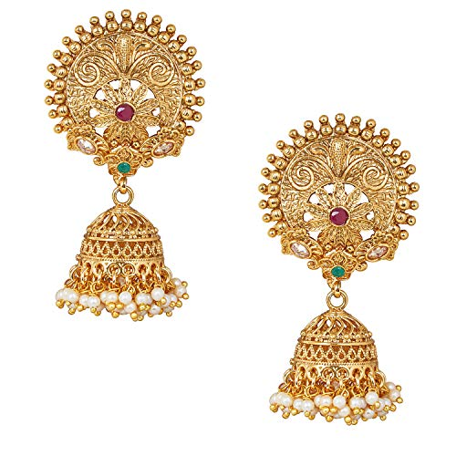 Bodha Indian Handcrafted 18K Antique Gold Plated Pure Copper Temple Jewellery Jhumka Earring For Women (SJ_1641)