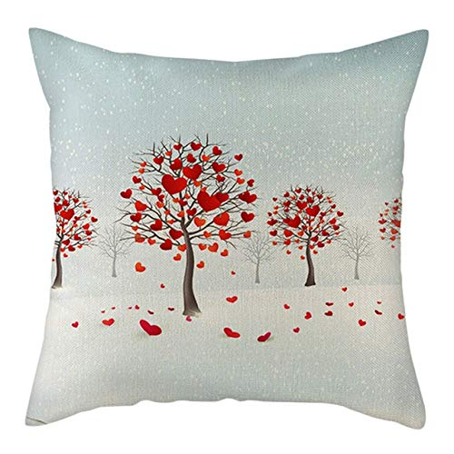 WZNB Linen Cushion Cover Red Love Pattern Pillow Cover For Home Chair Sofa And Car Decorative Pillowcases 4 piece set PC14166