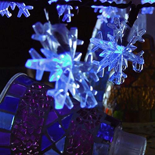 Cadena de luces solares con forma de copo de nieve, IP65, impermeable, 30 LED, 8 modos de iluminación, luces solares para jardín, festival, árbol de Navidad, luces decorativas, color azul