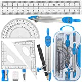 Geometry Compass Set Tuloka 10pcs School Maths Protractor Set Rulers for Student Maths and Engineering in...