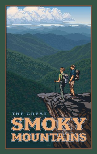 Northwest Art Mall Hiking in The Great Smoky Mountains North Carolina Wall Art by Paul Leighton, 11 by 17-Inch