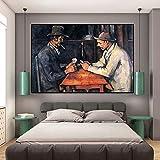 wZUN Pintura al óleo, Carteles e Impresiones, murales en lienzos de Jugadores de póquer, murales para Sala de Estar, decoración nórdica 60x100 Sin Marco