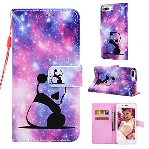 NiaCoCo Kompatibel mit iPhone 6Plus/6SPlus hülle Flip Cover PU Ledertasche mit Kartenschlitz Brieftasche 3D Muster TPU Magnetschnalle Schutzholster+1Pcs KBildschirmschutz(Baby Panda