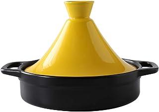 Cacerola de cerámica Vapor Sartén Sartén Saludable Olla de Barro para estofar Cocina Lenta, Olla marroquí Tagine con Tapa Amarilla 1.3 Cuartos
