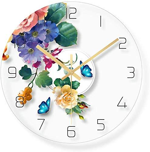 CLOCK Reloj, reloj de pared, reloj despertador, vidrio, reloj mudo de dormitorio, habitación infantil, reloj de dibujos animados con fondo de flores / 12 pulgadas (patrón: D)
