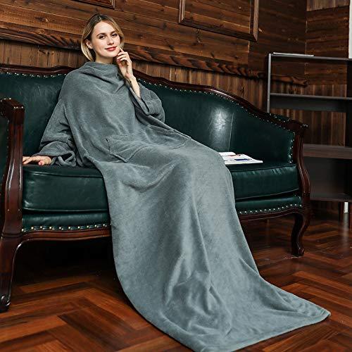 VIVILINEN Manta para TV con Mangas y Bolsillos Manta de Lana Suave para Vestir para Adultos, Hombres y Mujeres 130 x 180 cm (Gris)