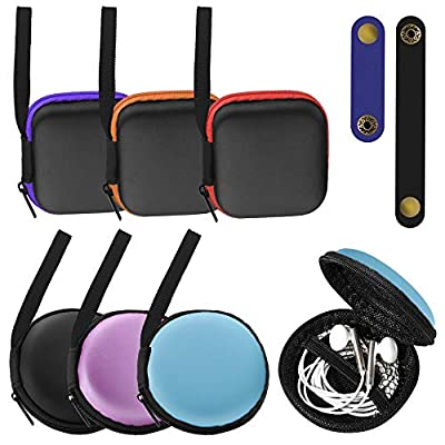 SENHAI 6 Pcs Small Square and Round Portable Earbuds Case with 2 Headphone Cable Clip, Tangle Free Earphone Case Mini Hard EVA Carrying Case Storage Bag for Earphone Earbuds SD Cards U Disk