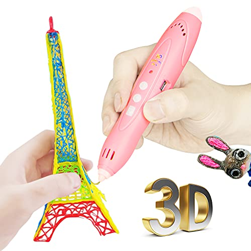 3D Pen for Kids Aged 4+, 3D Printing Pen for 3D Thinking Training, Wireless 3D Pen with 2 Feeding Speeds, Built-in Rechargeable Battery, 1.75cm PCL Filament (Pink)