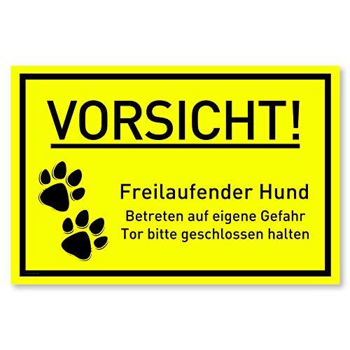 Vorsicht Hund Schild (30x20 cm Kunststoff) - Hundeschilder - Warnung vor dem Hund Schilder - Hundeschild Wetterfest - Hundewarnschilder - Achtung bissiger Hund (Neongelb) - Pfote
