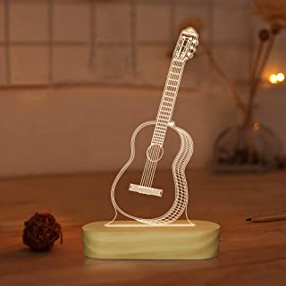 Guitar 3D Illusion Optical Night Light LED Bedside Table Lamp for Kids Men Him Musician Lover Holiday Gifts,Warm White Color