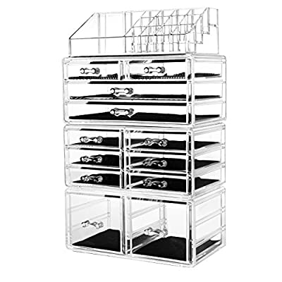 """hblife Makeup Organizer Acrylic Cosmetic Storage Drawers and Jewelry Display Box with 12 Drawers, 9.5"""" x 5.4"""" x 15.8"""", 4 Piece"""