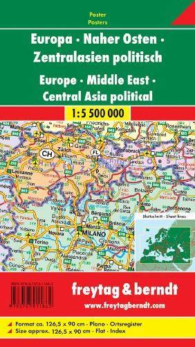 Mapa mural de Europa, Oriente Próximo, Asia Central (126x90 cm.) Freytag & Berndt.