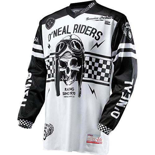 O\'NEAL | Motocross-Trikot | Enduro MX | leichte und langlebige Materialen, Lasergeschnittene Belüftungslöcher, Athletische Passform | Jersey Ultra Lite 70 | Erwachsene | Schwarz Weiß | Größe XXL