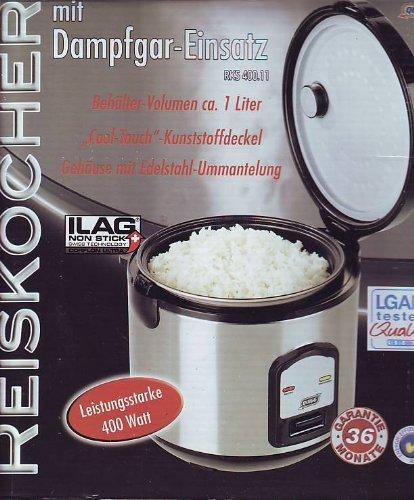 Elektrischer Reiskocher Quigg mit Dampfgar-Einsatz und Warmhaltefunktion RKS 400.11