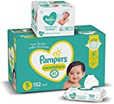 Diapers Size 4, 150 Count and Baby Wipes - Pampers Swaddlers Disposable Baby Diapers and Water Baby Wipes Sensitive Pop-Top Packs, 336 Count (Packaging May Vary)
