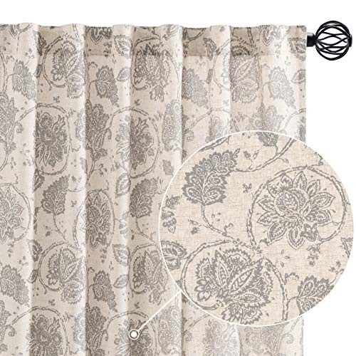 Paisley Scroll Printed Linen Curtains, Rod Pocket Back Tab - Medallion Design Jacobean Floral Printed Curtains Burlap Vintage Living Room Curtain Panels (Grey, 84 inch Long, One Pair)