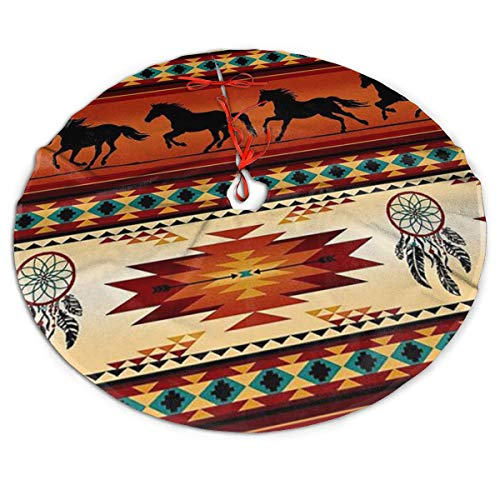 Efyh Christmas Tree Skirt Western Horses Native American Vintage Rustic Snowman Xmas Tree Skirt Holiday Festive Decorations Ornaments Party Supplies 30'