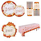 Thanksgiving Disposable Dinnerware Serve 25 Paper Plates Tablecloth Cups Napkins Table Decoration for Thanksgiving Dinner Party
