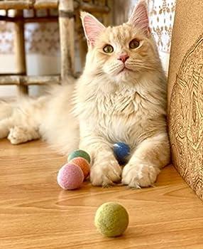 LucyBalu Color Balls Lot de 6 balles en feutre pour chat En feutre naturel (100 % laine de mouton) Fait main