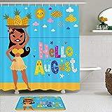 LISNIANY Conjunto De Ducha Cortina Alfombra,Chica Hula Vacaciones Verano Hola Agosto Texto Sol Piña Bailarina Hippie,Uso en baño, Hotel
