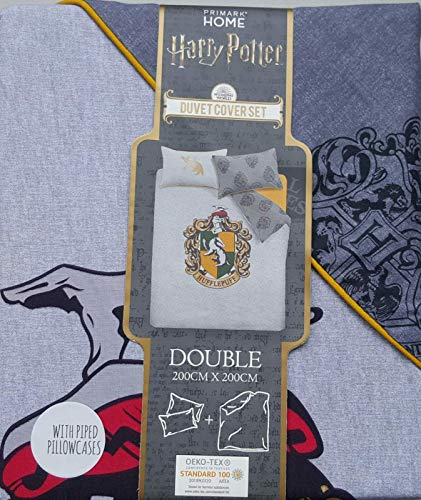 Primark Home Harry Potter Hufflepuff Crest Reversible Double Duvet Cover Set Gift New BNWT