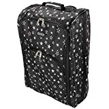 Cabin Hand Luggage Trolley Bag <span class='highlight'>Small</span> Travel Flight <span class='highlight'>Suitcase</span> Holdall <span class='highlight'>Wheeled</span> Super Tough Polyester Lightweight 44l Storage (Black & White Stars)