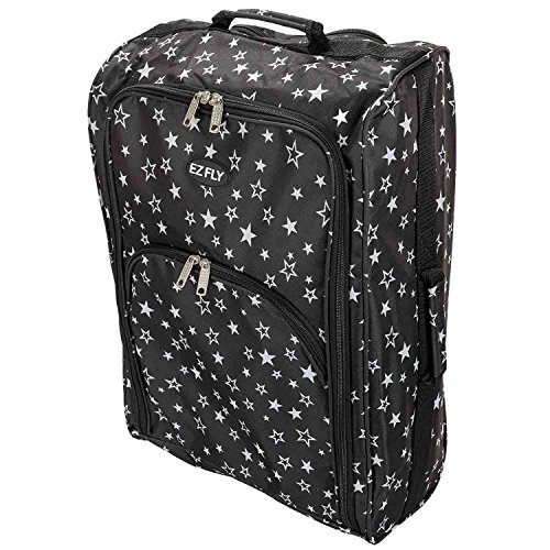 Cabin Hand Luggage Trolley Bag Small Travel Flight Suitcase Holdall Wheeled Super Tough Polyester Lightweight 44l Storage (Black & White Stars)