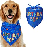 HAPPY HACHI Dog Bandana Christmas Birthday Gift 1 Pack Washable Pooch Triangle Scarf Soft Pet Decorations Neckerchief Bibs Kerchief Bow Ties for Medium Large Dog (Blue)