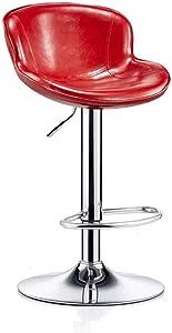 QQXX Barhocker Esszimmerstühle PU Kunstleder Hochlehner Stühle Aristokratischen Stil Küchenmöbel Wasserdicht Stretch Counter Hochhocker (Farbe: Rot)