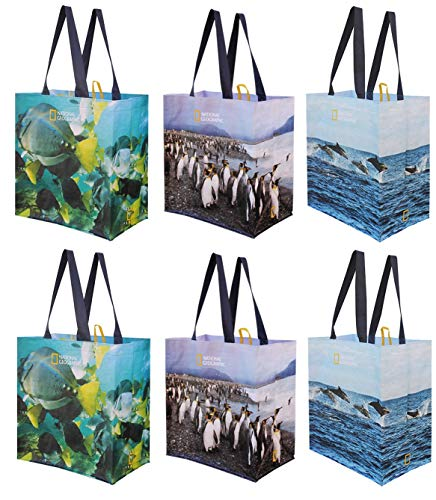 Reusable Grocery Bags Shopping Totes with Colorful National Geographic Prints Heavy Duty Water Resistant Laminated Material Assorted Variety of Animal Prints Pack of 6