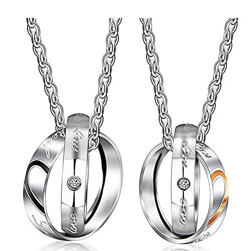 Kim Johanson Pärchen Halsketten 'My Only Love' für verliebte aus Edelstahl mit doppelten Ringen und Gravur inkl. Schmuckbeutel