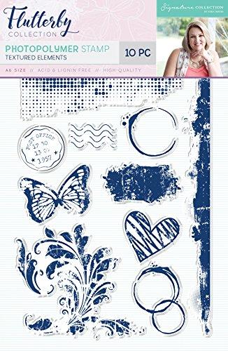 Sara handtekening Flutterby getextureerde elementen fotopolymeer stempel, 21 x 11,5 x 0,4 cm
