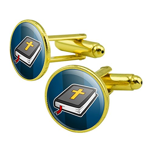 GRAPHICS & MORE Bible with Cross Christian Religious Round Cufflink Set Gold Color