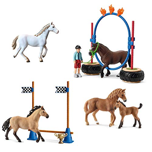 Spar-Set 174683 - Schleich - Quarter Horse Familie beim Agility Training mit englischer Vollblut Stute