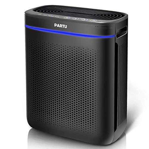 PARTU Air Purifier True HEPA Filter for Bathroom Living Room Smart Sensor Eliminator for Cigarette Smoke, Allergies, Dust, Odor and Pets Dander, Pollen, No Ozone(Available for California)