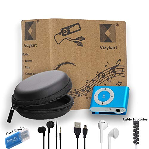 Vizykart Portable Digital Mp3 Music Song Player + Earphone + No Display + USB Cable + Handfree Earphone Carrying Case + Audio Music Player + Sports Mp3 Player + SD Card Slot