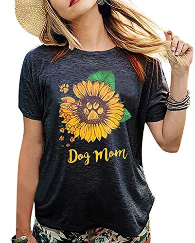 Women's Dog Mom Sunflower Funny T-Shirt Dog Paws Graphic Short Sleeve Loose Tee Tops… Black