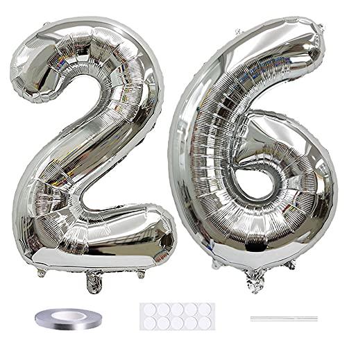 Xihuimay Globos numéricos 26 globos de helio de 101,6 cm, globos digitales de alfabeto 26 globos de helio grandes para fiestas de cumpleaños bodas despedida de soltera, número 26 plata